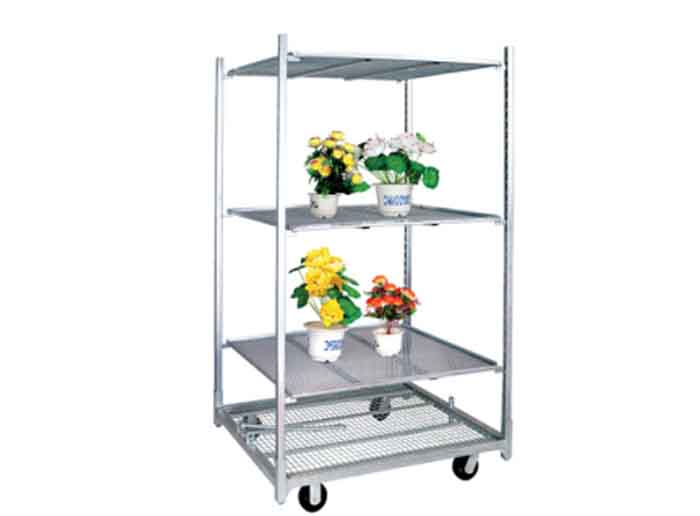 Wire Mesh Shelf Flower Trolley for Greenhouse