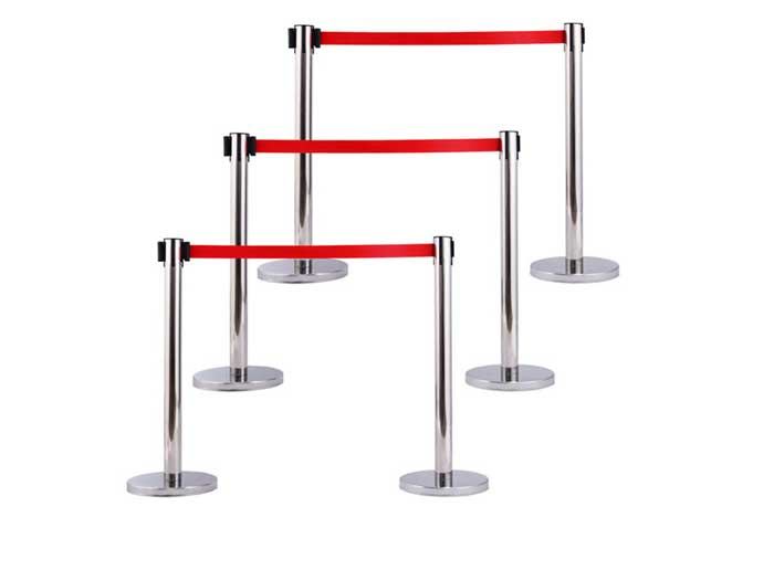 Retractable Belt Crowd Control Queue Stanchions with Red Belt