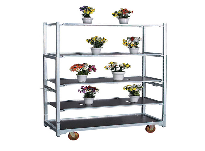 Newest Design Metal Greenhouse Flower Plant Transport Trolley Cart