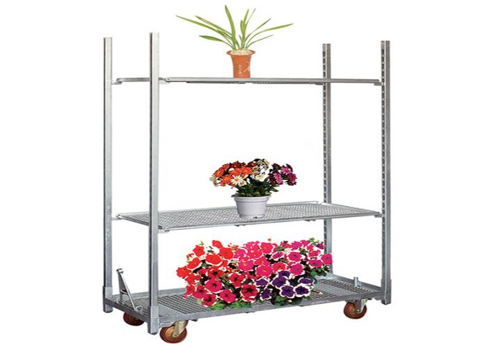 Newest Design Metal Greenhouse Flower Plant Transport Trolley Cart