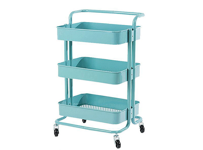 Rolling Metal Storage Organizer Trolley Mobile With Caster Wheels