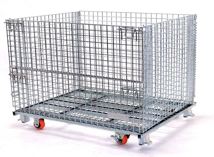 Wire Mesh Warehouse Cage Container Trolley