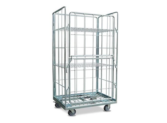 Roll Containers Galvanized Foldable Warehouse Rolling Cart Cage Trolley