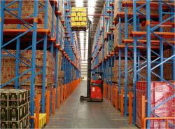 Drive in metal pallet racking system for industrial